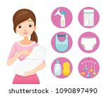 mother breastfeeding and... | Shutterstock .eps vector #1090897490