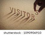 visitors wood word on...   Shutterstock . vector #1090906910
