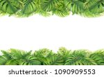 horizontal tropical border with ... | Shutterstock .eps vector #1090909553