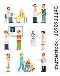 set of doctors and patients in... | Shutterstock .eps vector #1090911140