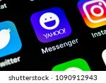 Small photo of Sankt-Petersburg, Russia, May 10, 2018: Yahoo messenger application icon on Apple iPhone X smartphone screen close-up. Yahoo messenger app icon. Social media icon. Social network