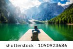 travel hiker taking photo of... | Shutterstock . vector #1090923686