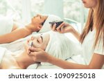 women get facial spa by... | Shutterstock . vector #1090925018