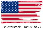grunge flag of america.vintage... | Shutterstock .eps vector #1090925579