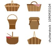 wicker and willow picnic... | Shutterstock .eps vector #1090935104