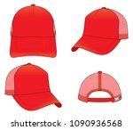 trucker red net cap for vector...   Shutterstock .eps vector #1090936568