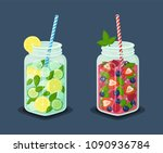 set of mugs refreshing drinks... | Shutterstock .eps vector #1090936784