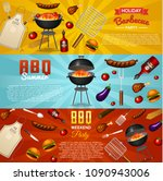 barbecue grill elements set... | Shutterstock .eps vector #1090943006