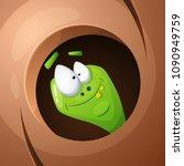 funny  cute  crazy cartoon worm.... | Shutterstock .eps vector #1090949759