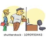 funny vector cartoon of clients ... | Shutterstock .eps vector #1090950443