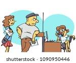 funny vector cartoon of clerk... | Shutterstock .eps vector #1090950446