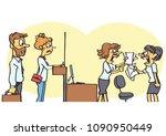funny vector cartoon of two... | Shutterstock .eps vector #1090950449