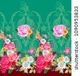 seamless floral border with... | Shutterstock .eps vector #1090953833