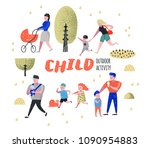 family outdoor activity.... | Shutterstock .eps vector #1090954883