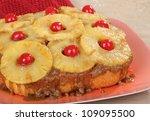 closeup of a pineapple upside...   Shutterstock . vector #109095500