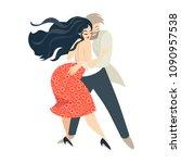 cartoon couple dancing salsa.... | Shutterstock .eps vector #1090957538