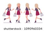 young woman running and walking.... | Shutterstock .eps vector #1090960334