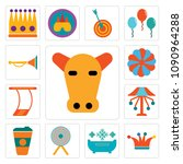 set of 13 simple editable icons ... | Shutterstock .eps vector #1090964288
