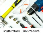 set of construction tools on... | Shutterstock . vector #1090966826