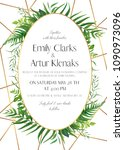wedding invite  save the date... | Shutterstock .eps vector #1090973096