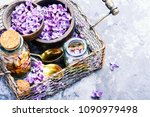 bottle of essential oil with...   Shutterstock . vector #1090979498