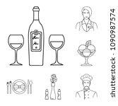restaurant and bar outline... | Shutterstock .eps vector #1090987574