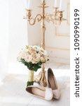 beige high heels pumps shoes... | Shutterstock . vector #1090990199