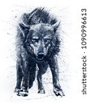 Wolf Watercolor Painting Black...