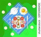 vegetarian picnic in the open... | Shutterstock .eps vector #1091000450