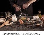 ingredients for baking   baker...   Shutterstock . vector #1091002919