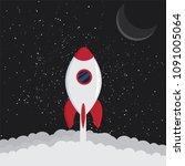 cartoon rocket space ship take... | Shutterstock .eps vector #1091005064