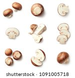 set of fresh whole and sliced... | Shutterstock . vector #1091005718