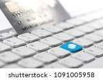 credit card payment for online... | Shutterstock . vector #1091005958