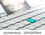 credit card payment for online... | Shutterstock . vector #1091005964
