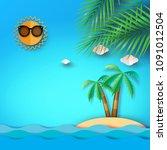 summer beach sea and island... | Shutterstock .eps vector #1091012504