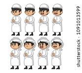 set of arab muslim for ramadan... | Shutterstock .eps vector #1091013599