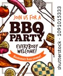 barbecue vector hand drawn... | Shutterstock .eps vector #1091015333