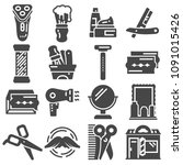 set of barber shop icons and... | Shutterstock .eps vector #1091015426