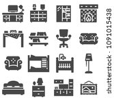 vectot basic furniture icon set ... | Shutterstock .eps vector #1091015438