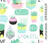 cute summer theme seamless... | Shutterstock .eps vector #1091016119