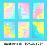 set of 6 abstract and bright... | Shutterstock .eps vector #1091016239