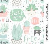 cute summer theme seamless... | Shutterstock .eps vector #1091016269