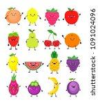 cartoon set of different fruits.... | Shutterstock .eps vector #1091024096