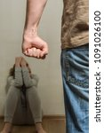 domestic violence of a husband... | Shutterstock . vector #1091026100