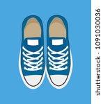 pair of casual sneakers... | Shutterstock .eps vector #1091030036