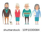 grandparents collection  granny ... | Shutterstock .eps vector #1091030084