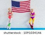 beautiful senior sportswomen... | Shutterstock . vector #1091034146