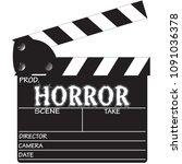 a director's 'horror' clapper... | Shutterstock .eps vector #1091036378