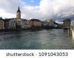 beautiful view of zurich ... | Shutterstock . vector #1091043053