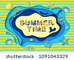 summer typography design with... | Shutterstock . vector #1091043329